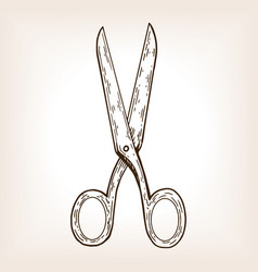 scissors engraving vector image vector image