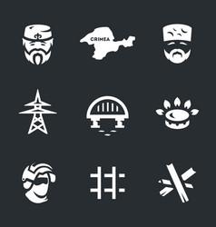 set of crimea blockade icons vector image vector image