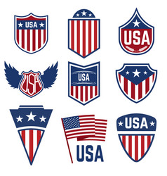 set of emblems with american symbols usa flag vector image
