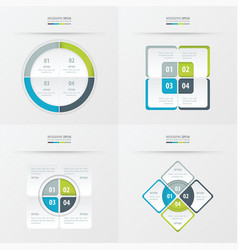 Set of presentation template green blue gray vector