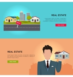 Set of real estate conceptual web banners vector