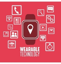 Smart watch social media wearable technology pink vector