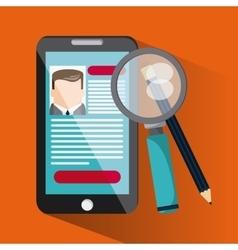 Smartphone lupe pencil businessman cv document vector