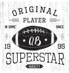 T-shirt design football quarterback superstar vector