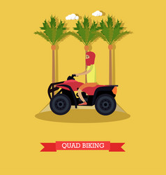 Trip to egypt quad biking concept flat vector