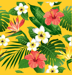 tropical flowers and leaves on yellow background vector image vector image