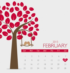 Valentines day 2015 Calendar February vector image vector image