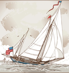Vintage view of american yacht in regatta vector