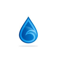 water drop wave blue logo vector image