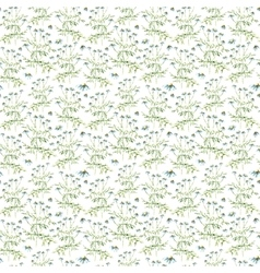 Watercolor chamomile herbs seamless pattern vector