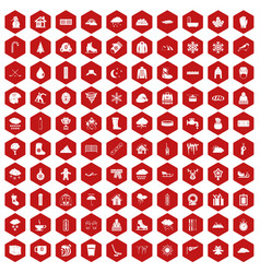 100 snow icons hexagon red vector