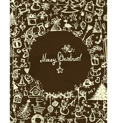 Christmas frame sketch drawing for your design vector image