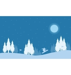 Silhouette of people skier at night holiday vector