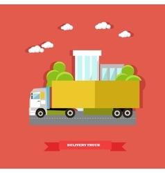 Delivery truck road vector