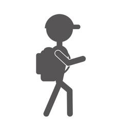 Silhouette man hiking cap packback vector