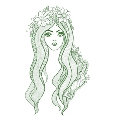 Artistic drawing of a beautiful girl with flowers vector