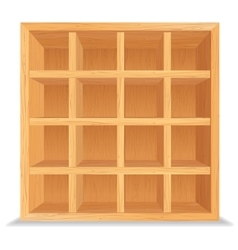 Empty wooden shelves isolated on white wall vector