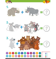 Addition maths game with animals vector