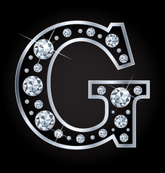 G letter made with diamonds isolated on vector