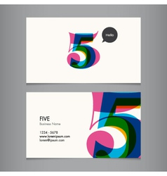 Business card with number 5 vector