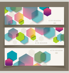 Banners with abstract geometricbackground from vector
