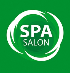Abstract logo for spa salon on a green background vector