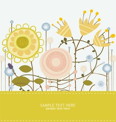 Flowers greeting card vector