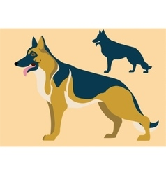German shepherd and its silhouette vector