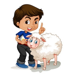 Little boy and sheep vector