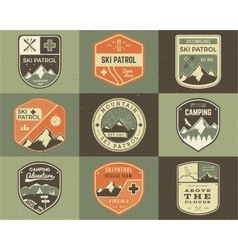 Set of retro style ski club patrol labels vector