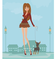 Girl and her puppy vector