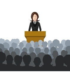 Woman holds a lecture to an audience flat vector
