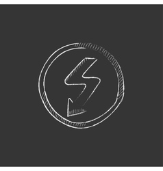Lightning arrow downward drawn in chalk icon vector