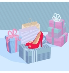 Showcase shoe shop vector
