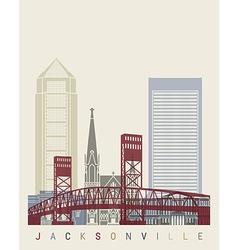 Jacksonville skyline poster vector