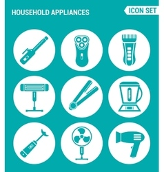 Set of round icons white household appliances vector