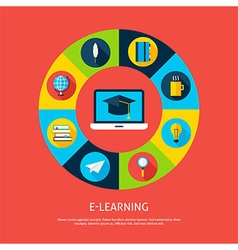 Electronic learning flat infographic concept vector