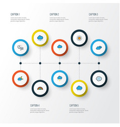 Air colorful outline icons set collection of hail vector