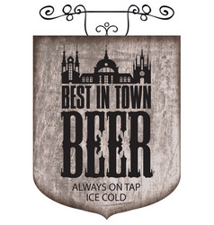 Beer signboard with inscription and old castle vector