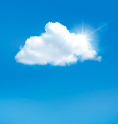 Blue sky with cloud and sun background vector image