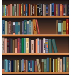 Bookshelf with books vector