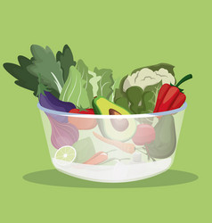 Bowl vegetables fresh ingredients vector
