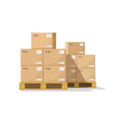 Boxes on wooded pallet flat warehouse vector