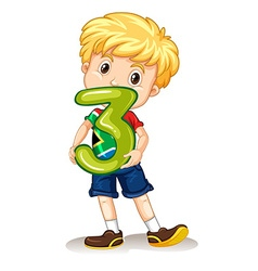 Boy holding number three vector