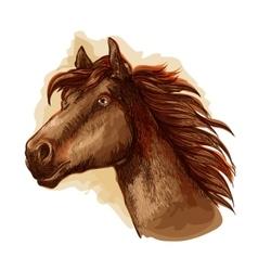 Brown racehorse for horse racing design vector