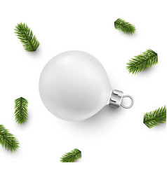 Card with white christmas ball vector