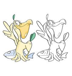 Cute pelican coloring book vector