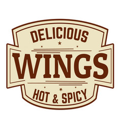 delicious wings label or icon vector image