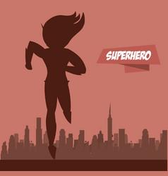 Fast woman superhero on city silhouette vector