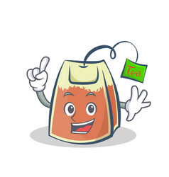 Finger tea bag character cartoon vector